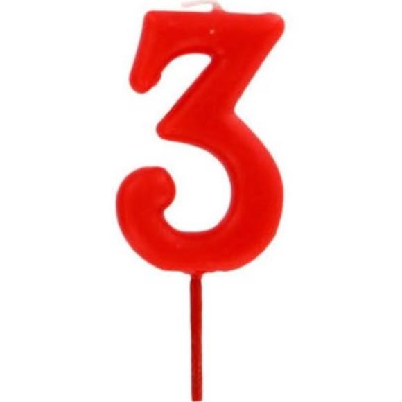 Bougie d'anniversaire chiffre 3 rouge