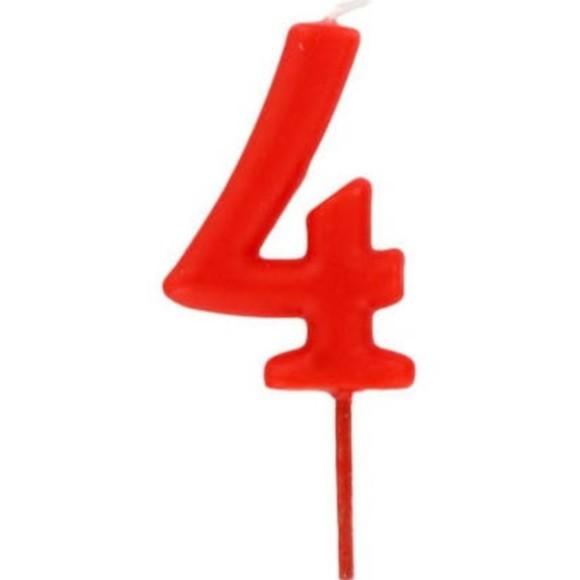 Bougie d'anniversaire chiffre 4 rouge