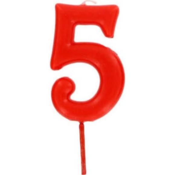 Bougie d'anniversaire chiffre 5 rouge