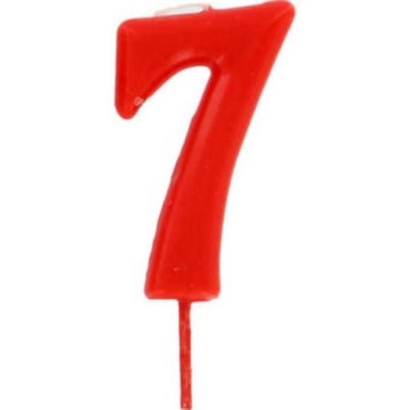 Achat en ligne Bougie d'anniversaire chiffre 7 rouge