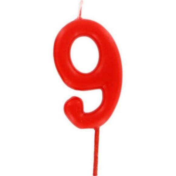 Achat en ligne Bougie d'anniversaire chiffre 9 rouge
