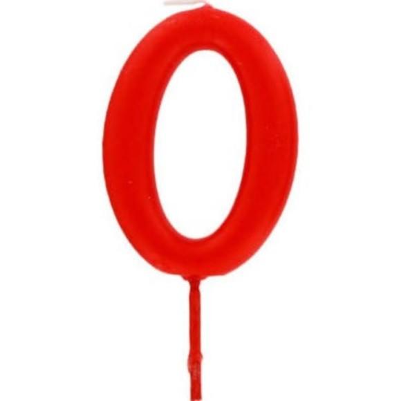 Bougie d'anniversaire chiffre 0 rouge