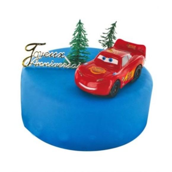 Set decoro per torte Cars in plastica rossa