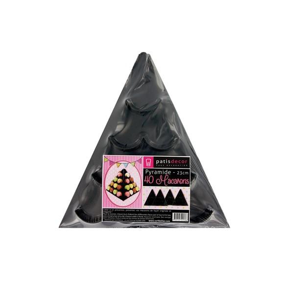 Pyramide à macarons noire Gatodeco