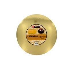 compra en línea Set 5 bases redondas cartón dorado de tarta Cerf Dellier (Ø30 cm)