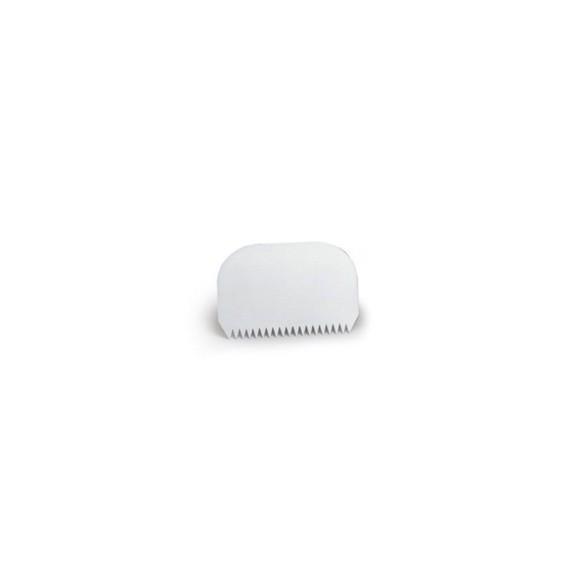 compra en línea Raspador dentado para repostería de plástico blanco (145 x 95 mm)