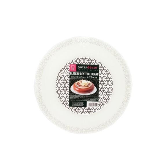 compra en línea Base redonda para tarta con encaje de plástico blanco (Ø26 cm)