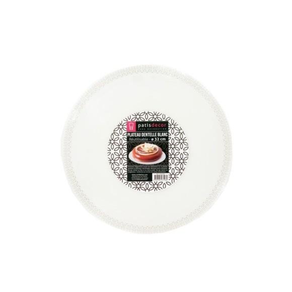 Vassoio pizzo tondo bianco 32 cm plastica