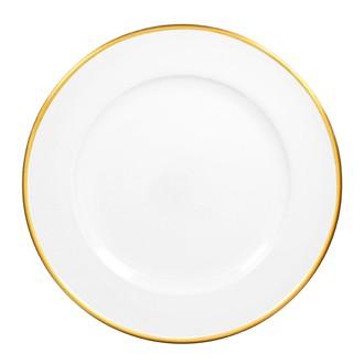 Assiette hotesse blanche filet or en résine