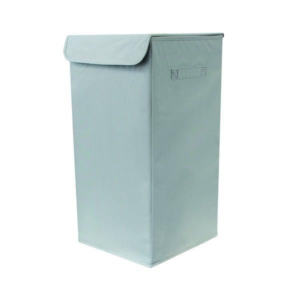 Panier à linge avec couvercle en polyester gris 54L
