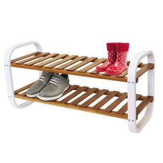 Etagère pour 6 paires de chaussures en bambou et en métal blanche