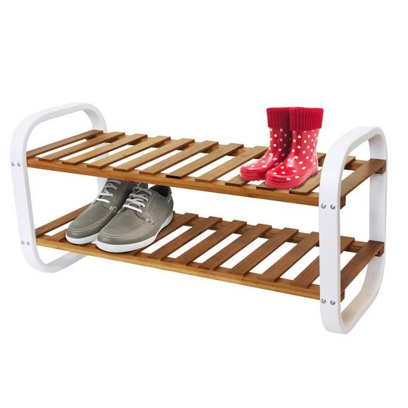 Etagère 6 paires de chaussures en bambou et en métal blanche