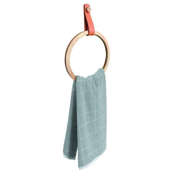 Anneau porte serviette en bois d'Hévéa et sangle similicuir