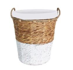 Achat en ligne Panier à linge avec housse en corde naturel et blanc
