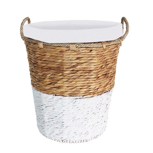 Panier à linge avec housse en corde naturel et blanc