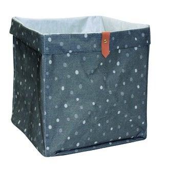 Boîte de rangement en polycoton cube petits pois gris et blanc