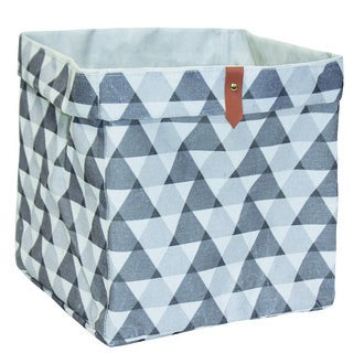 Boîte de rangement en polycoton cube petits triangles gris et blanc
