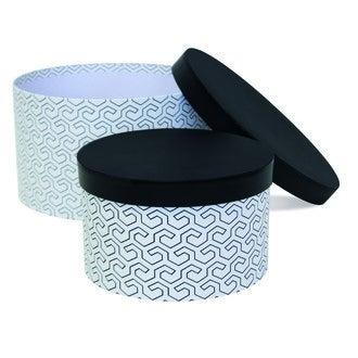 Set de 2 boîtes à chapeaux avec rayures noir et blanc 26x20 cm et 30x18cm