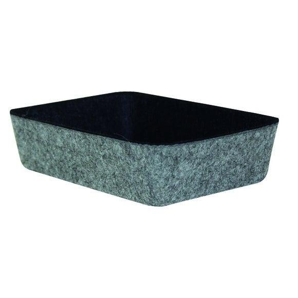 Organisateur bicolore noir et gris en feutre 18x13x4.5cm