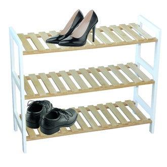 06c6b73a023 Range-chaussures à 3 étages en bois et blanc 70x25.5x34 cm