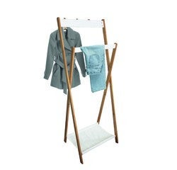 Achat en ligne Portant bambou naturel et blanc avec 3 patères 60x28x157cm