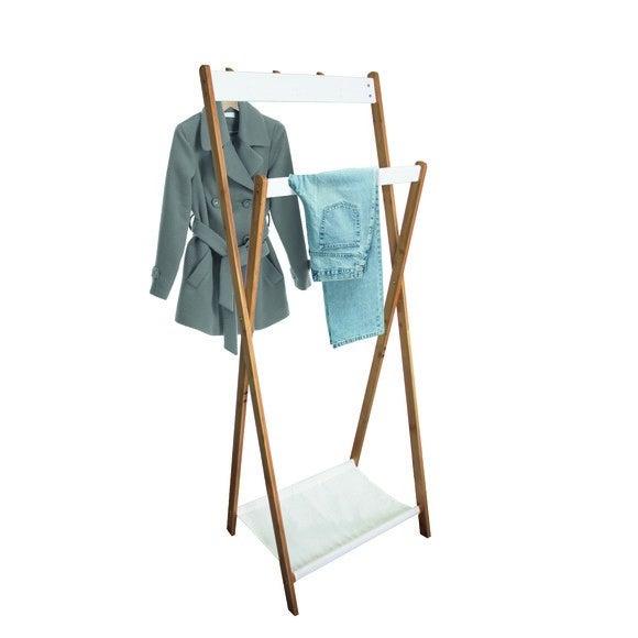 Portant bambou naturel et blanc avec 3 patères 60x28x157cm