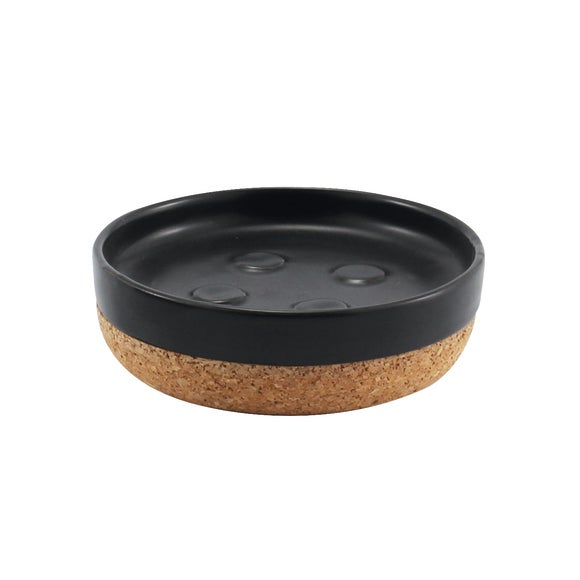 Porte savon céramique liège Odémira noir