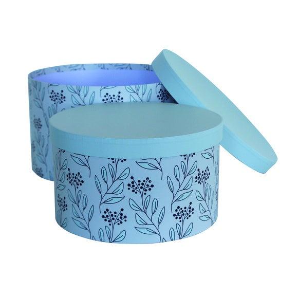 Achat en ligne Set 2 boîtes à chapeaux motif fleurs vert et blanc