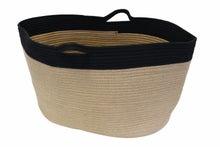 Achat en ligne Sac à bûches naturel et noir en corde et jute 65x40x35cm