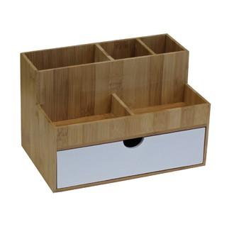 Rangement organiseur multi-produit 3 tiroirs blanc bambou