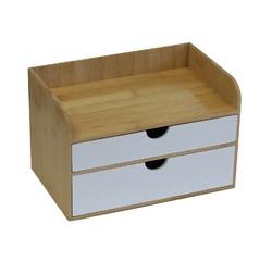 Achat en ligne Boite bijoux bambou 2 tiroirs blanc
