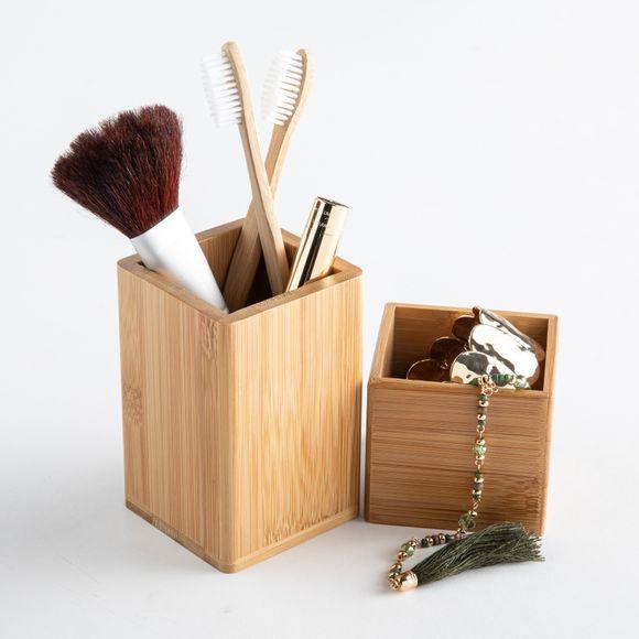 Contenitori per il makeup in bamboo, 2 pezzi