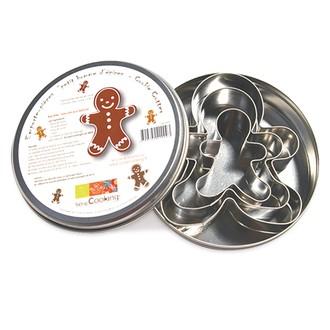 Scrapcooking - set de 3 emporte-pièces bonhomme en pain d'épices en inox 7/9/11,5cm