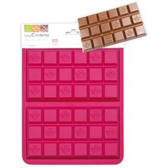 Moule chocolat 2 tablettes en silicone rose 25x17,5x1,5cm