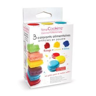 Set 3 colorants alimentaires artificiels en poudre 3x10g
