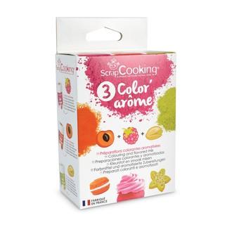 SCRAPCOOKING - Set de 3 colorants alimentaires arôme framboise, abricot, pistache Color'arome en pot 3x10g