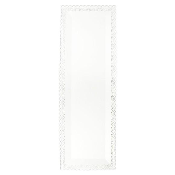 Plat rectangulaire en dentelle blanche 13x40cm