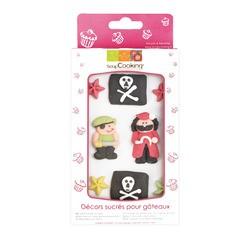 compra en línea 9 decoraciones de azúcar tema pirata (50 gr)