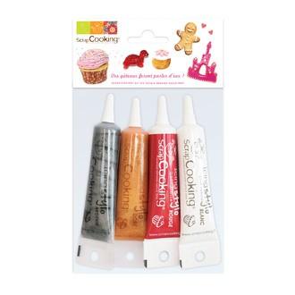 Set de 4 stylos de glaçage doré, argenté, blanc et rouge