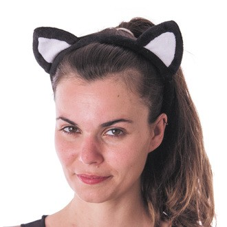 Serre tête chat blanc et noir velours
