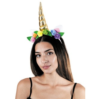 Serre tête licorne dorée à fleurs