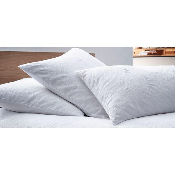 Taie d'oreiller carrée-piqué en percale blanc Rosaces65x65cm