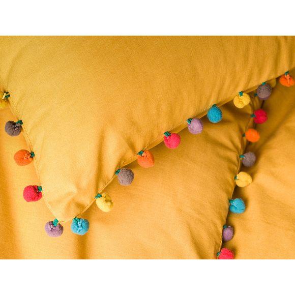 acquista online Federa quadrata in cotone curry bordo pompon 65X65cm