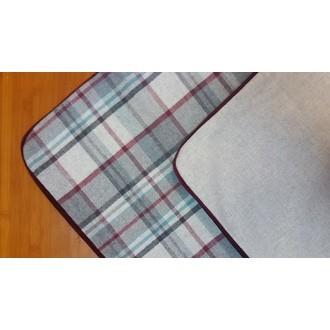 MAOM - Taie d'oreiller réversible carrée en flanelle à carreaux et grise 65x65cm
