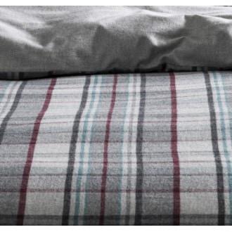 Maom - housse de couette réversible en flanelle à carreaux et grise 240x220cm
