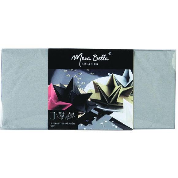 Achat en ligne 12 serviettes 40x60cm en papier-prépliées argent
