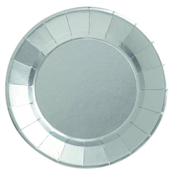 Paquet 8 assiettes jetables rondes carton argent satin 25cm