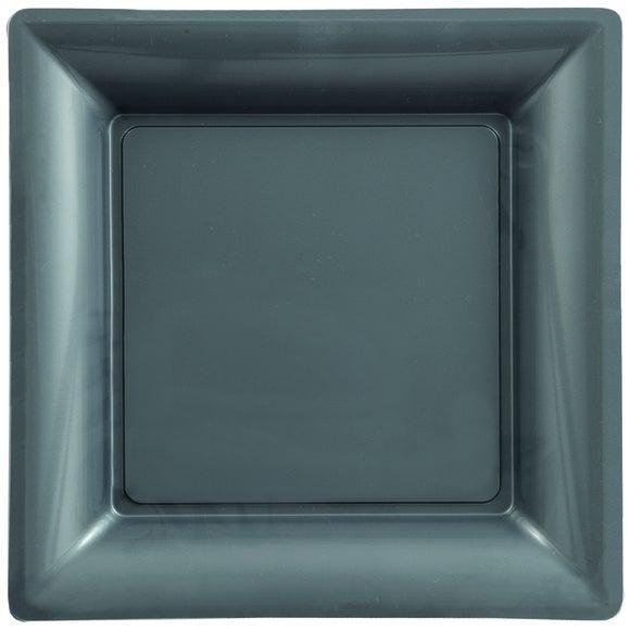 Paquet de 8 assiettes carrées en plastique gris 21,5cm