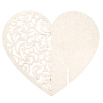 Marques-place cœur ivoire satine en sachet de 6