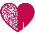 Marques-place cœur fuschia en sachet de 6